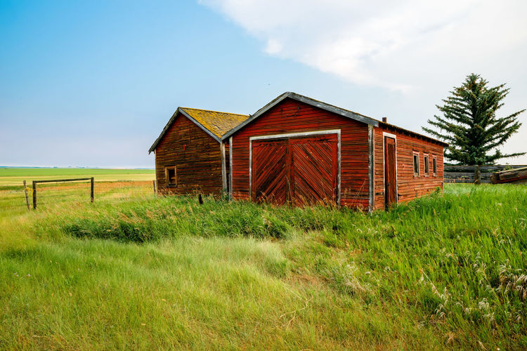 The Farmers Field Agricultural Building Architecture Building Building Exterior Built Structure Cabin Cloud - Sky Day Farm Field Grass Green Color House Land Landscape Nature No People Outdoors Plant Rural Scene Sky Wood - Material