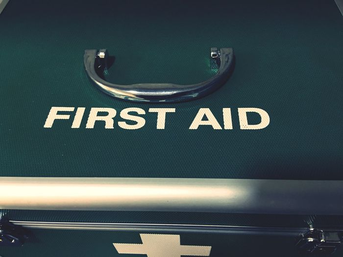 First Aid Kit Aid Equipment Health Kit Medical Prevention Treatment Wellness