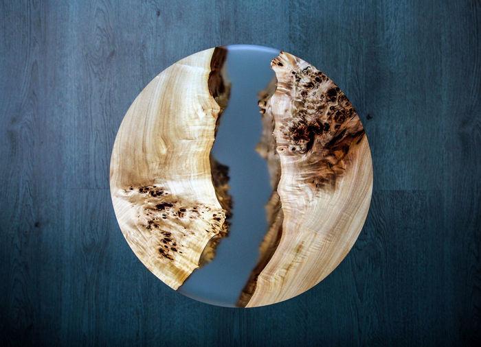 Designer round table with epoxy resin