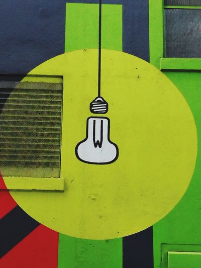 old power building Lightbulb Painting On Side Of Building No People Day Architecture Outdoors