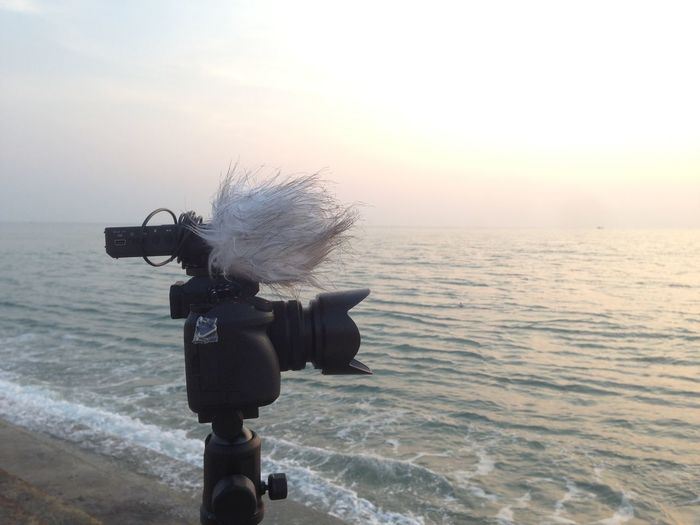 View of camera on the beach