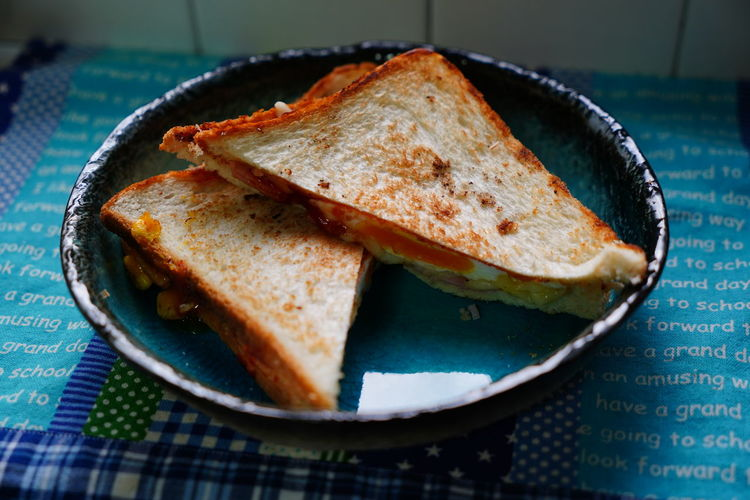 Close-up of sandwich served in plate