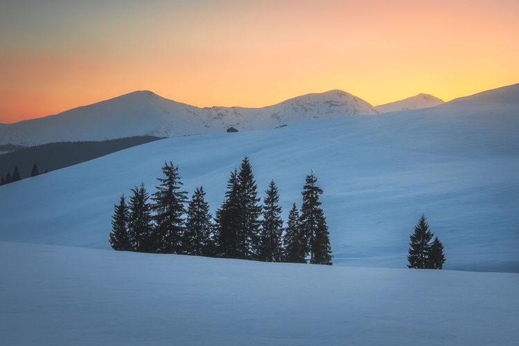 Mountain landscapes in the cold winter season from carpathians, romania.