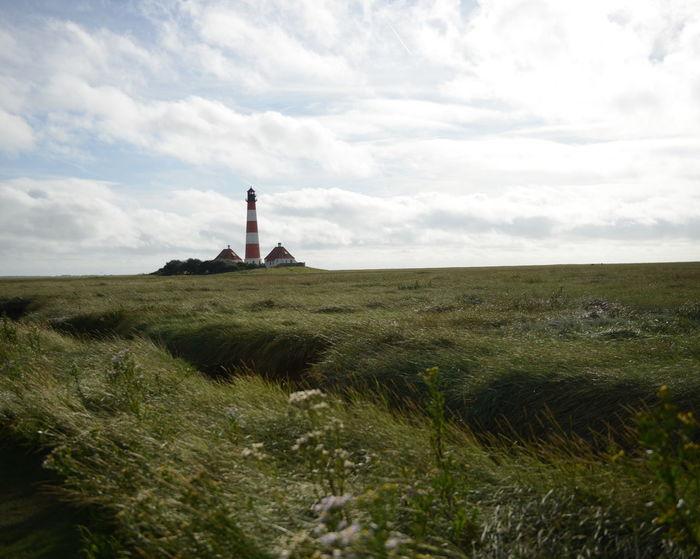 Westerhever Lighthouse Nordsee Germany Schleswig-Holstein Horizon Landscape Cloud Clouds And Sky Wind Marshlands Schilf Salzwiesen
