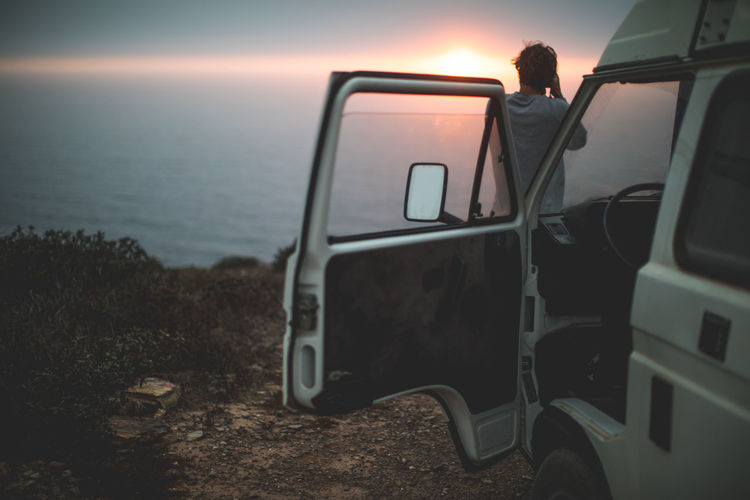 jumping out getting the shot :) Friends Light Portugal Surf Travel VW Beauty In Nature Coast Horizon Over Water Light And Shadow Nature Ocean Outdoors Sea Sky Sunset Water An Eye For Travel