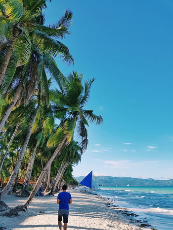 Beach walk. 🌴 Beach Sea Tree Vacations Water Sky Walking Nature Blue Scenics Beauty In Nature Beach Life Tranquil Scene Beachphotography Travel Photography Wanderlust Wandering Skies And Clouds Philippines Summer Travel Vacations Tropical Climate Boracay Tranquility