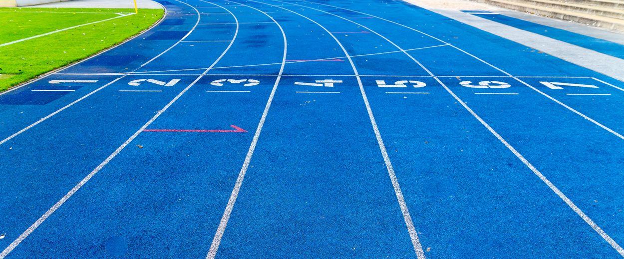 Panoramic view of blue running track