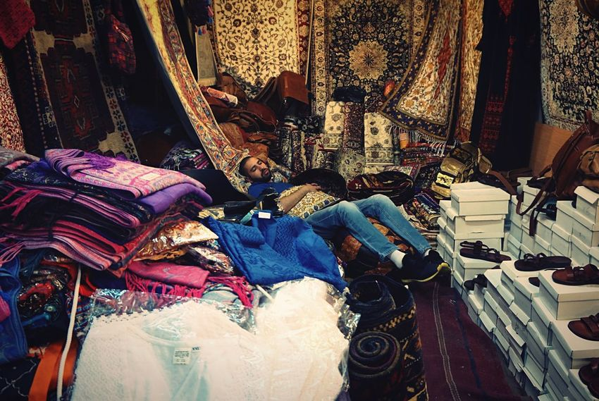 One Thousand and One Nights - Ali Baba Night Night, Sleep Tight Ali Baba Ali Baba Caverne Cave Cavern Sleeping Sleeping Beauty Seller Souk Bazaar Abundance Multi Colored Shoes Carpet Oriental Arabian Retail  Everything In Its Place Leather Bags Clothing People Photography Sleep Tale  Surprising