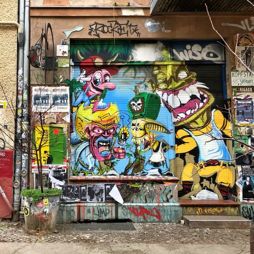 Street Art Graffiti Art And Craft Multi Colored Creativity Built Structure Wall - Building Feature Text
