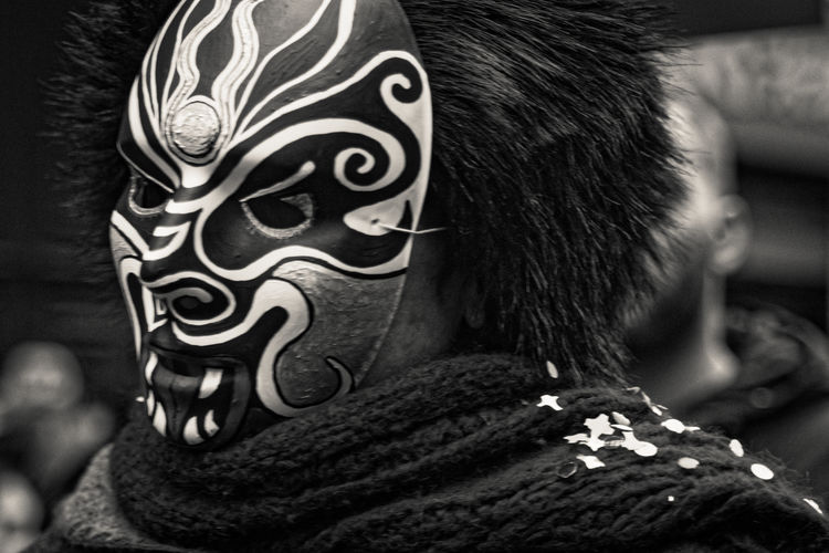 Blackandwhite Photography Chinese Mask Chinese New Year Close-up Costume Focus On Foreground Headshot Indoors  Men Night Real People Ritual Mask