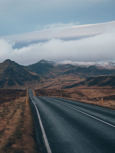 Iceland Road Transportation Mountain Sky Cloud - Sky Direction Landscape Scenics - Nature No People Environment Beauty In Nature The Way Forward Nature Non-urban Scene Tranquil Scene Mountain Range Dividing Line Long Tranquility Road Marking