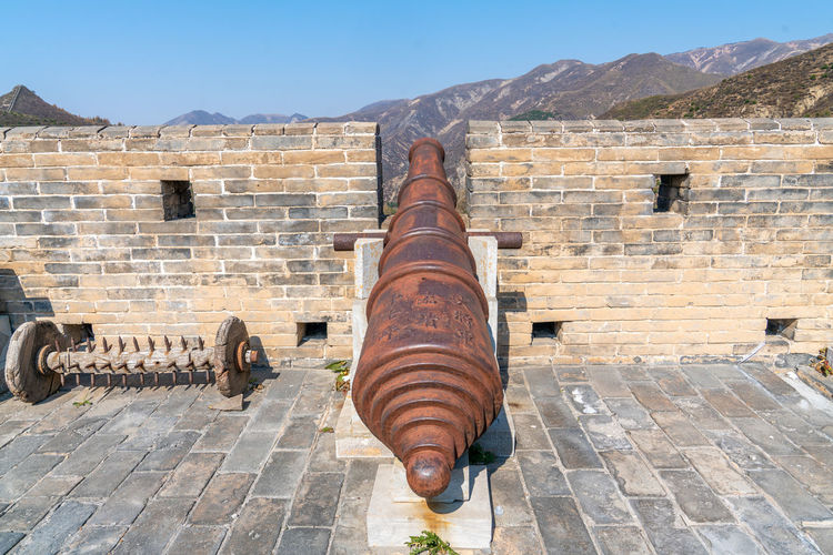 Artillery on the Great Wall of yanmen pass, China Ancient Ancient Buildings Ancient Times Artillery Blue Sky Buildings China Defense Firearms Great Wall Of China Mountains Old Fashioned Shanxi Province Sunny Days Weapon Yanmen Pass Nature Architecture Day Built Structure No People History The Past Outdoors Cannon Fort Wall Mountain Building Exterior Old Travel Destinations Sky Stone Wall Sunlight Brick Ancient Civilization