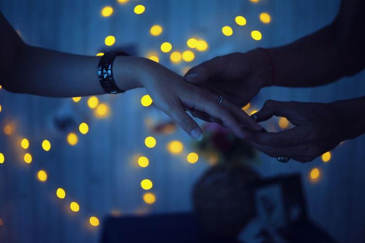 Rings Human Hand Illuminated Young Women Celebration City Popular Music Concert Men Musician Hand Close-up