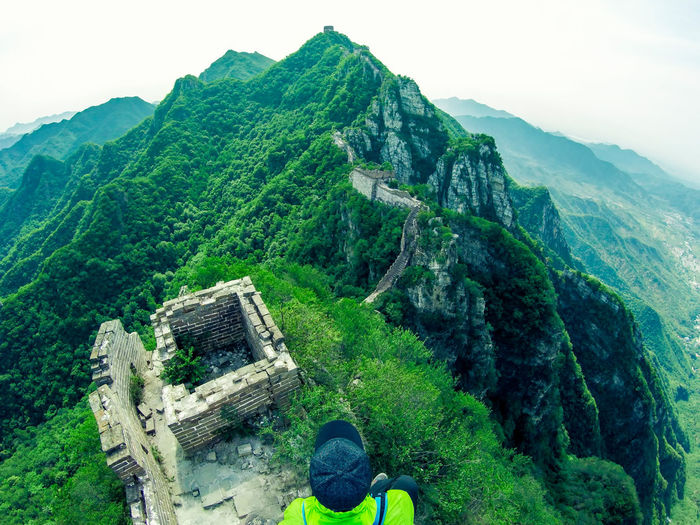 High Angle View Of Man At Great Wall Of China
