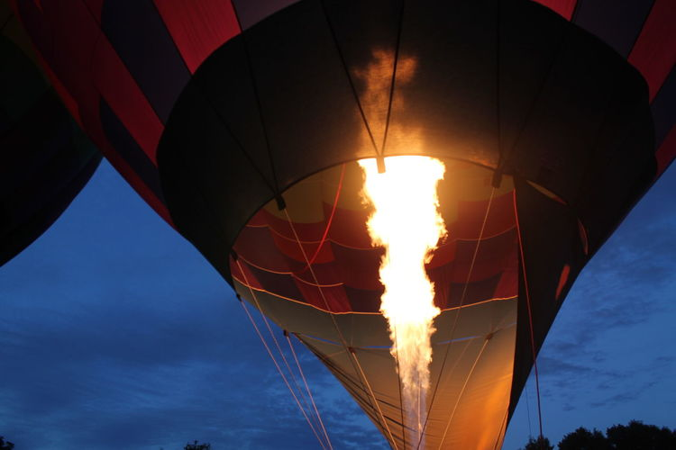 Low angle view of fire in hot air balloon