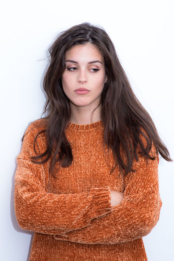 Studio Shot White Background One Person Looking At Camera Front View Portrait Waist Up Indoors  Young Women Hairstyle Cut Out Young Adult Brown Hair Sweater Casual Clothing Hair Standing Women Long Hair Teenager Beautiful Woman Warm Clothing Young Woman Portrait Of A Woman