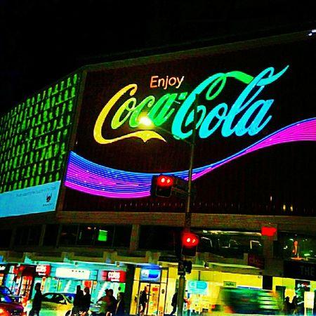 Night Neon City Life Nightlife Multi Colored Illuminated Coca-Cola ❤ VIVID Sydney. Life Observations Kings Cross, Sydney.