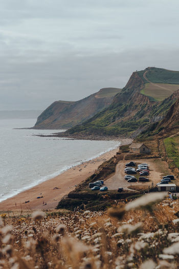 View over the flowers of eype beach, a secluded and unspoiled beach on dorsets jurassic coast, uk.
