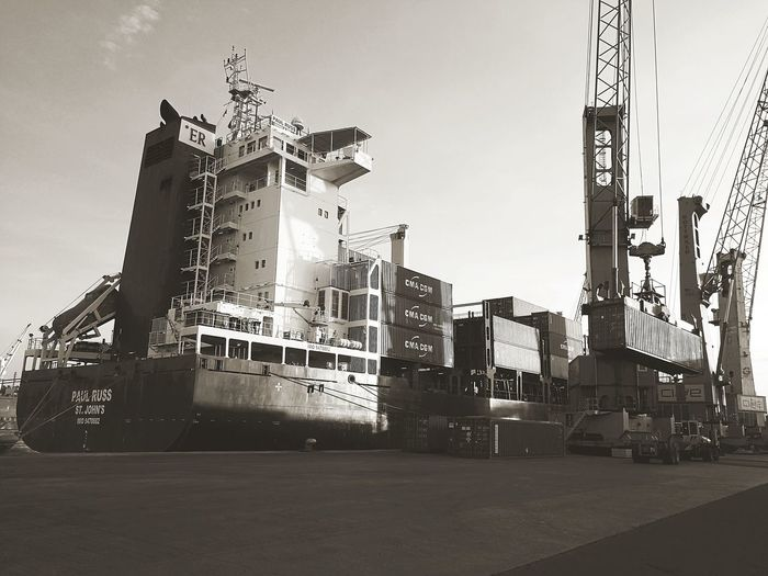 Outdoors No People Day Sky Business Finance And Industry City Harbor Veracruz Harbor Container Ship Container Port Container Terminal Black And White Friday