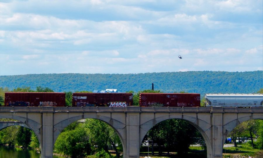 Train and bridge with a helicopter in the background. Train Bridge Architecture_collection EyeEm FLASH Mission Eyeem Community Showcase June Eyeem Market EyeEm Gallery Eyem Collection Landscape Photography Landscape_Collection Bridgescape Bridge Over Water Eyeem Photography Helicopter Flying EyeEm Fine Art Photography Hidden Gems  Showcase July 43 Golden Moments Harrisburg PA Pennsylvania EyeEm Best Shots - Landscape Home Is Where The Art Is The Drive