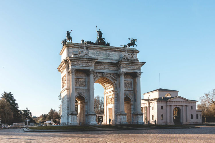 Porta sempione against clear sky in city