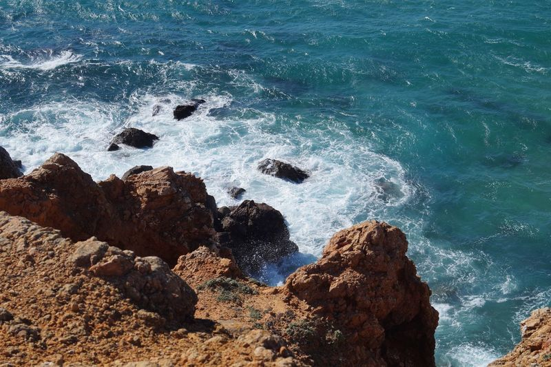 Beach Beauty In Nature Cape Saint Vincent Coastline Day High Angle View Motion Nature No People Outdoors Rock Rock - Object Rock Formation Scenics Sea Shore Surf Tranquil Scene Tranquility Water Wave
