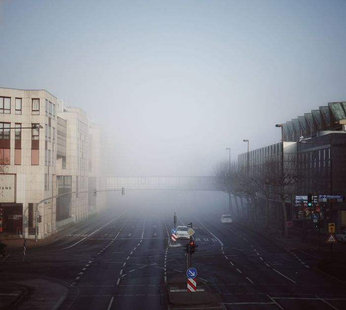 Foggy mornings in Mainz... Foggy Winter Urbanliving Colour Your Horizn Fog Wet Street City Road People Outdoors Day Sky #urbanana: The Urban Playground