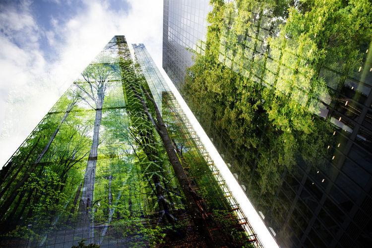 Panoramic shot of modern buildings against sky