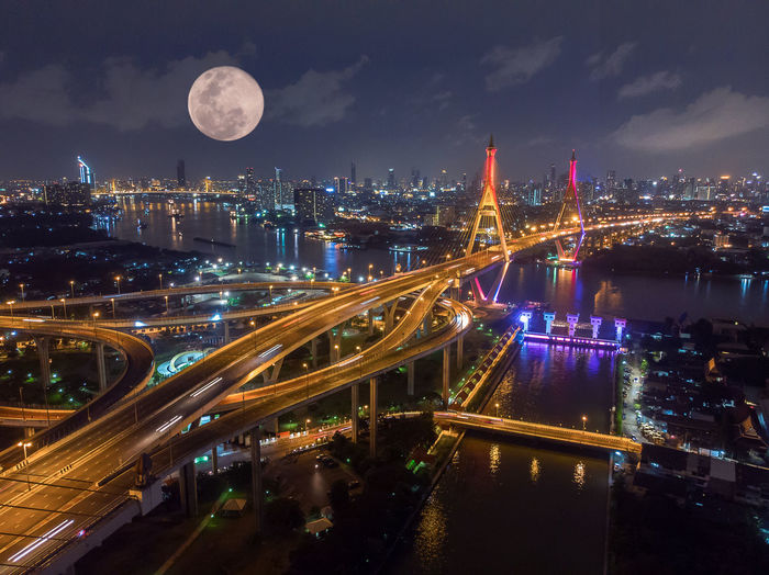 Night Built Structure Architecture City Building Exterior Illuminated Transportation Sky Cityscape Connection Moon Bridge Bridge - Man Made Structure Nature Travel Destinations Water No People High Angle View Motion Outdoors Office Building Exterior Skyscraper Modern Full Moon