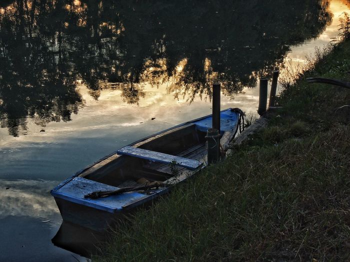 Boat EyeEm Best Shots Eye4photography  EyeEm Gallery EyeEm Selects Riviera Del Brenta EyeEmNewHere River Water Nature No People Transportation Day Plant Nautical Vessel Mode Of Transportation High Angle View Tranquility Tree Reflection Outdoors Abandoned Autumn Mood Capture Tomorrow