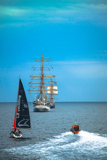 Adventure Blue Blue Sea Blue Sky Blue Sky And Clouds Blue Water Day Horizon Over Water Nautical Vessel No People Outdoors Sail Sailing Sailing Ship Sea Summer Summer2016 Tall Ship Transportation Travel Water