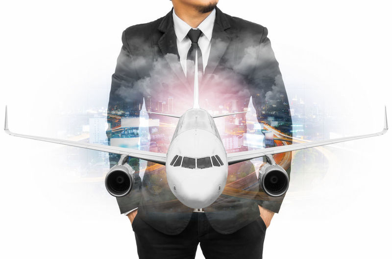 Double Exposure of businessman in downtown blurred and airplane, Concept travel. Exposure Double Business Businessman Background City Concept Man Success Suit Modern Career Marketing Leadership View Professional Looking Job Office Boss Idea Future Male Executive  Research Creative Search Building Manager Work Skyscraper High Travel Airport Airplane People Trip Young Flight Journey Traveling Transport Plane Corporate Transportation Aircraft Air