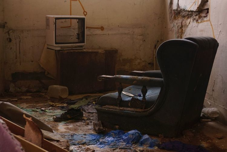 Abandoned chair at home