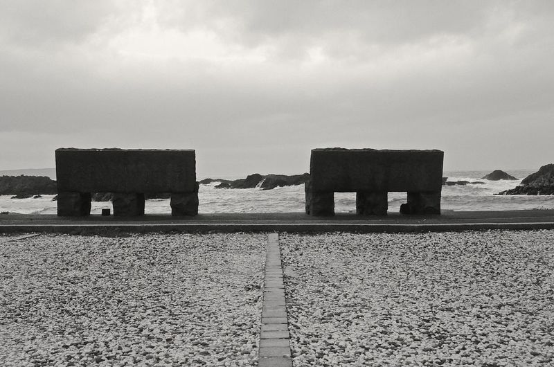 Empty benches at shore against cloudy sky