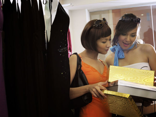 shopping at clothing store Asian  Business Fashion Free Time Happiness Shopping Clothing Store Consumerism Customer  Discount Enjoying Life Female Fun Time Garment Leisure Activity Lifestyles Looking Down Sales Shopping Mall Smiling Store Togetherness Two People Weekend Activities Women