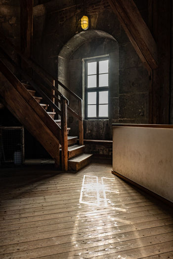 Architecture Indoors  Built Structure Building Flooring No People Lighting Equipment Empty Absence Wood - Material Window Illuminated Day Door Wood Abandoned Wall - Building Feature Old Entrance Ceiling Church Tower Shadow And Light