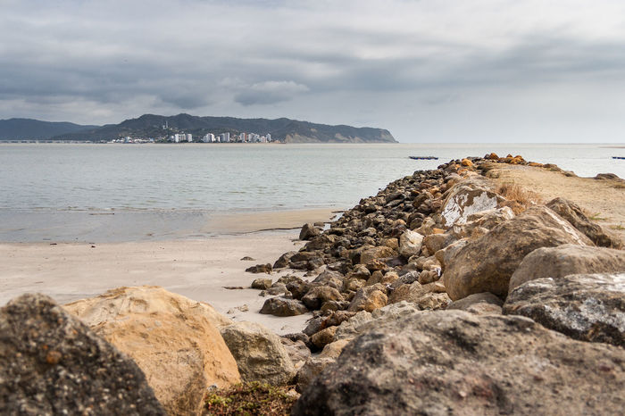 San Vicente Architecture Beach Beauty In Nature Built Structure Cloud - Sky Day Groyne Horizon Over Water Manabí Mountain Nature No People Outdoors Pebble Beach Rock Rock - Object Scenics Sea Sky Tranquil Scene Tranquility Water
