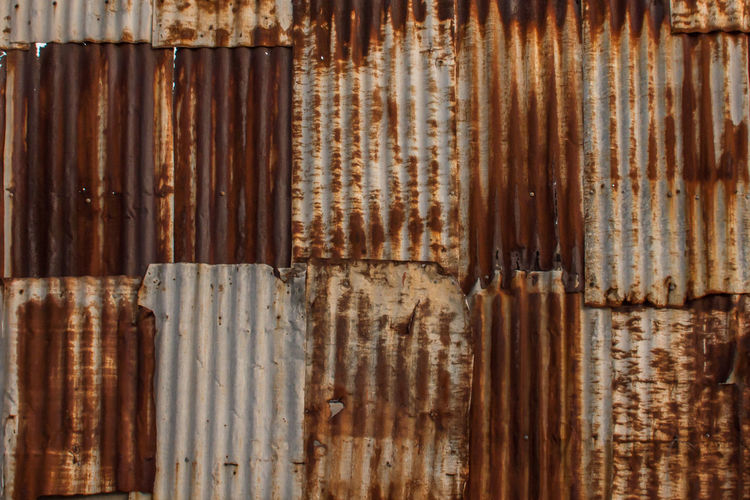 Full frame shot of rusty corrugated irons