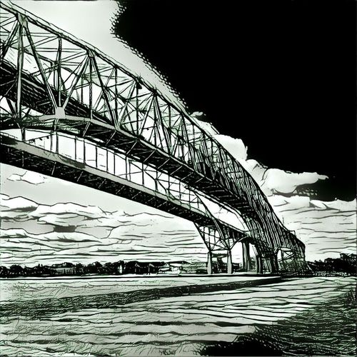 Bluewater Bridges. Water Sand Outdoors Day Built Structure Beach Bridge - Man Made Structure Vertical Architecture Nature No People Sky Prisma Water Black & White B&w Black And White