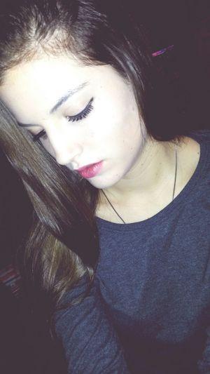 Redlips Brunette Eyelashes That's Me Girl Selfie Taking Photos Straightface