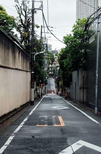 Empty street amidst walls
