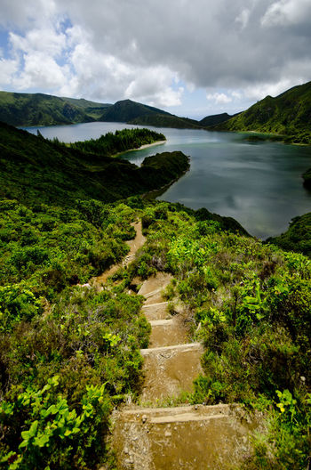 Azores Beauty In Nature Day Exploring Exposure Green High Angle View Hill Lagoa Do Fogo Leading Long Exposure Lush Foliage Mountain Mountain Range Outdoors Rock Rock Formation Scenics Stream Tranquil Scene Trip Vacation Valley Voyage