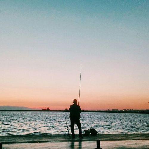 Izmir Turkey Türkiye Alsancak Kordon Sea Deniz Sunset Photography Fisherman Sky Tranquil Scene Tranquility Fishing Vacations
