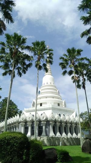 Chonburi / Thailand 2017: White Pagoda at Yannasungwararam Temple 1 Pagoda Pagoda Building Pagoda Temple Pagodas Pagoda 😀 Pagoda Thai Temple - Building Temple Temple In Thailand Tree Ancient Civilization Religion Spirituality Sky Architecture Cloud - Sky Travel