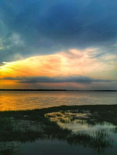 Glow. Sunset Water Reflections Cloud And Sky Nature