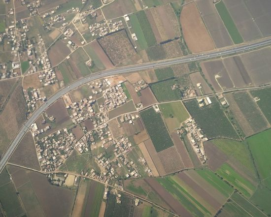 Aerial View Agriculture Airplane Cityscape Day Farms Field Landscape Nature No People Road