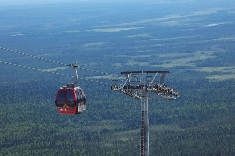 Gondola lift Gondola Lift Red High Angle View High Finland♥ Ylläs Lapland Outdoor Nautical Vessel Cable