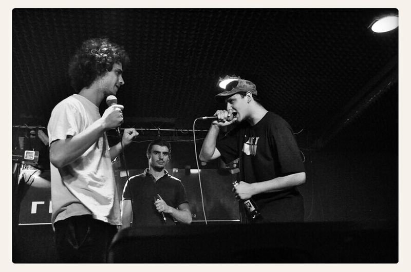 from to left to the right: rapper Noah, MC Epos (https://www.facebook.com/epossimon), Dagoth Ur @ Dreistil Kick Off (22.05.2014); first round of the freestyle battle, 1vs1, winner Noah qualifies for the final round; copyright by Kathleen Montorio, picture taken with Nikon D5000 for the Hip Hop in Vienna Blog; Freestyle Battle