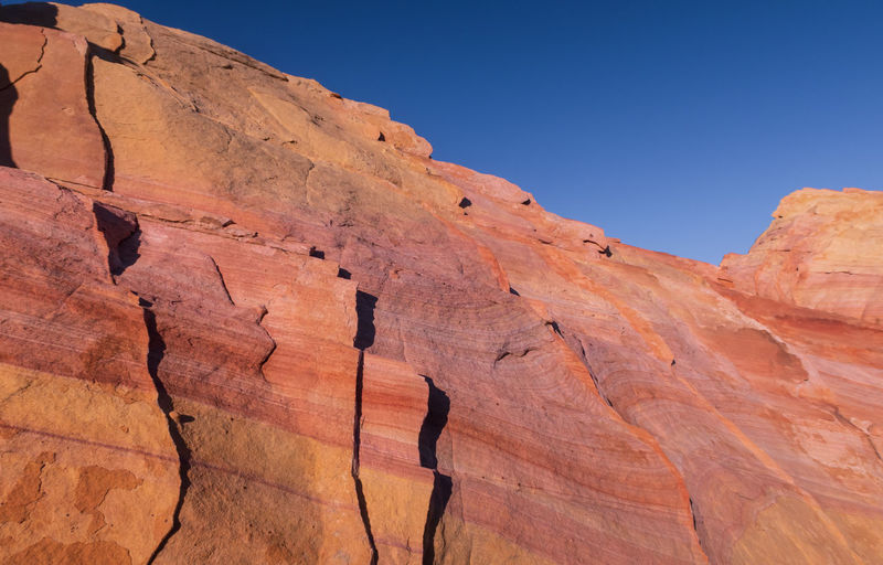 Landscape of large pink and orange rock formation at valley of fire state park in nevada