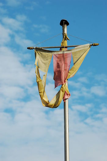 Low angle view of flag against baden